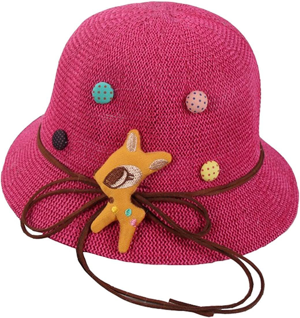 ACVIP Baby Girls Foldable Bowknot Style Straw Summer Bucket Beach Hat for Vacation