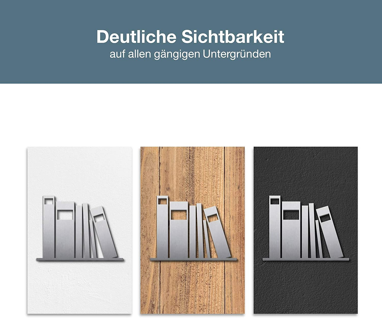 100/% Made in Germany P5101 PHOS Edelstahl Design Piktogramm Bibliothek Archiv selbstklebend Edelstahl geb/ürstet B/ücher-Regal Zeichen Universit/ät Symbol 11 x 8 cm Schild