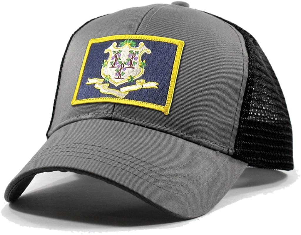 Homeland Tees Mens Connecticut Flag Patch Trucker Hat