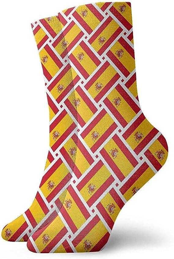 Calcetines casuales de España Bandera de tejido de tobillo Calcetines Vestido corto Calcetines de compresión para mujeres Hombres: Amazon.es: Ropa y accesorios
