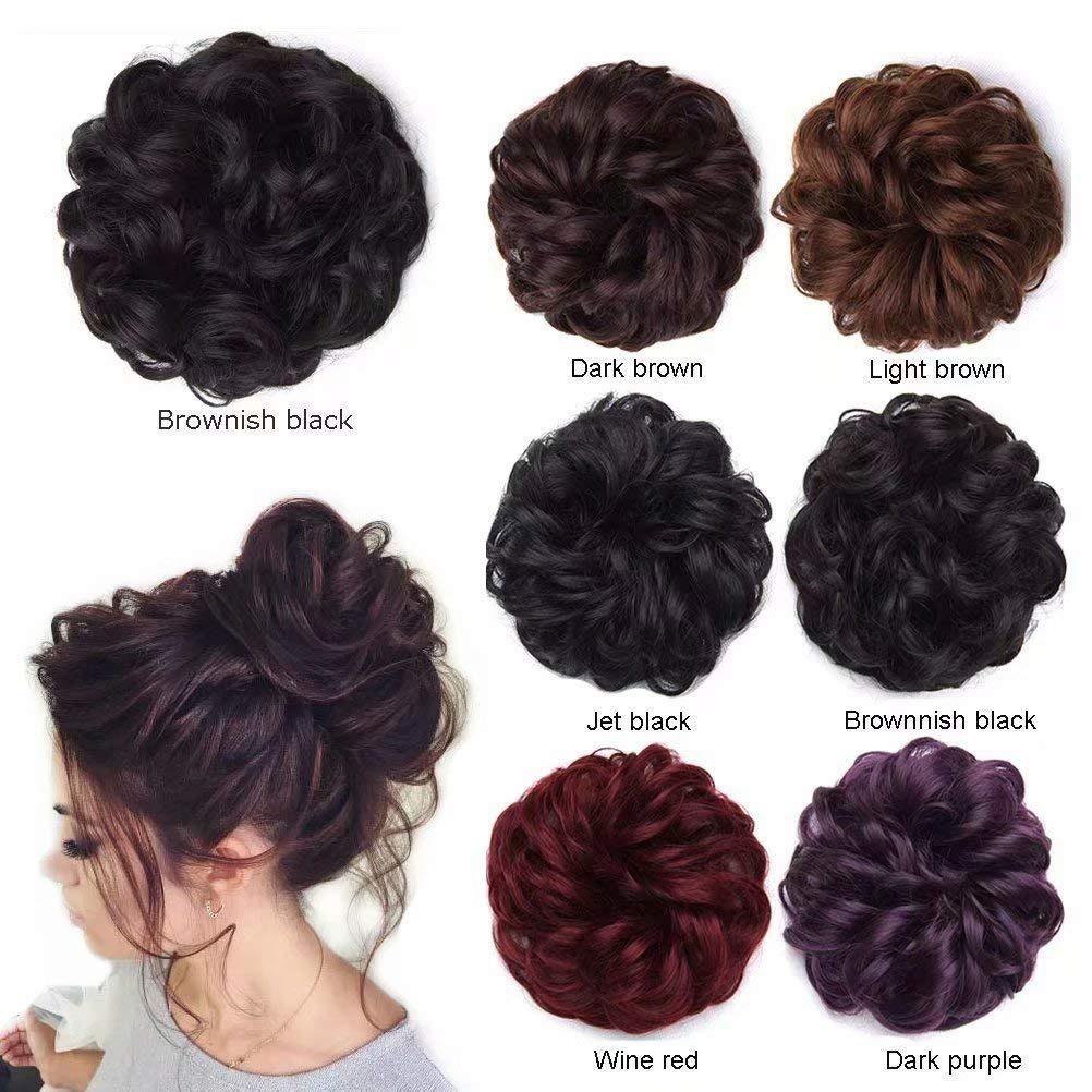 Messy Hair Scrunchies Hair Bun Extensions Wavy Curly Messy Hair Extensions Donut Hair Chignons Hair Piece Wig Hairpiece, Dark Brown ShowJarlly