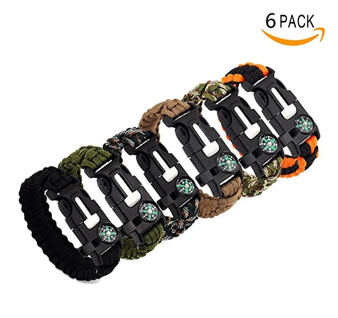 Bestsupplier Paracord Bracelet Kit Outdoor Survival Bracelet Camping Hiking Gear with Compass, Fire Starter, Whistle And Emergency Knife, Pack of 6