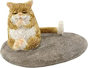 Top Collection Miniature Fairy Garden and Terrarium Cat Meditating on Rock Figurine