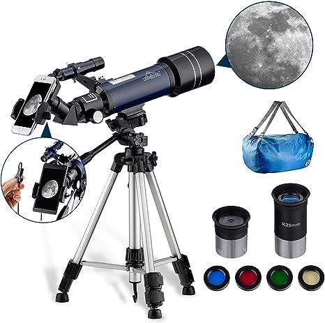 Telescopio Astronómico para Niños Principiantes 400/70mm Refractores Portátil y Equipado con Trípode 110cm, Adaptador De Teléfono MAXLAPTER: Amazon.es: Electrónica