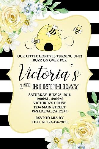 Amazon bumble bee birthday party invitations personalized bumble bee birthday party invitations personalized printed invitations filmwisefo
