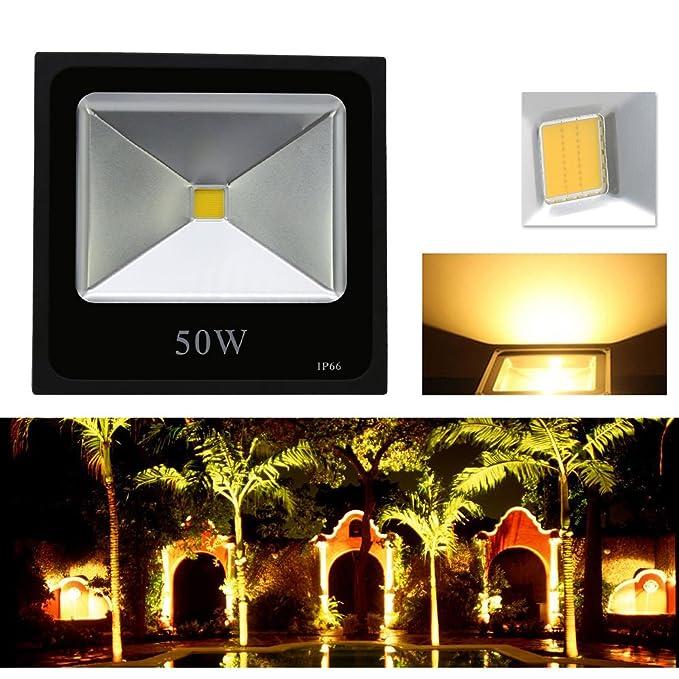 HG® Foco proyector LED 50W Blanco Cálido Lámpara Exterior ...