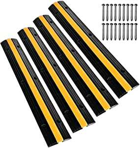 Scinotec Rubber Speed Bumps 4 Pack of 1 Channel 6600Lbs Load Capacity Cable Protector Ramps Traffic Wire Cord Ramps with 24 Bolt Spike for Asphalt Concrete Gravel Driveway