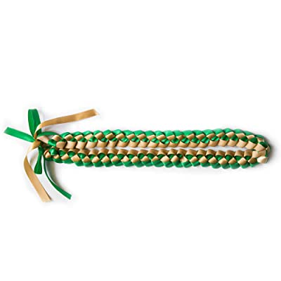 A Tangible Thought Ribbon Lei - Braided Necklace - Gold & Green: Toys & Games
