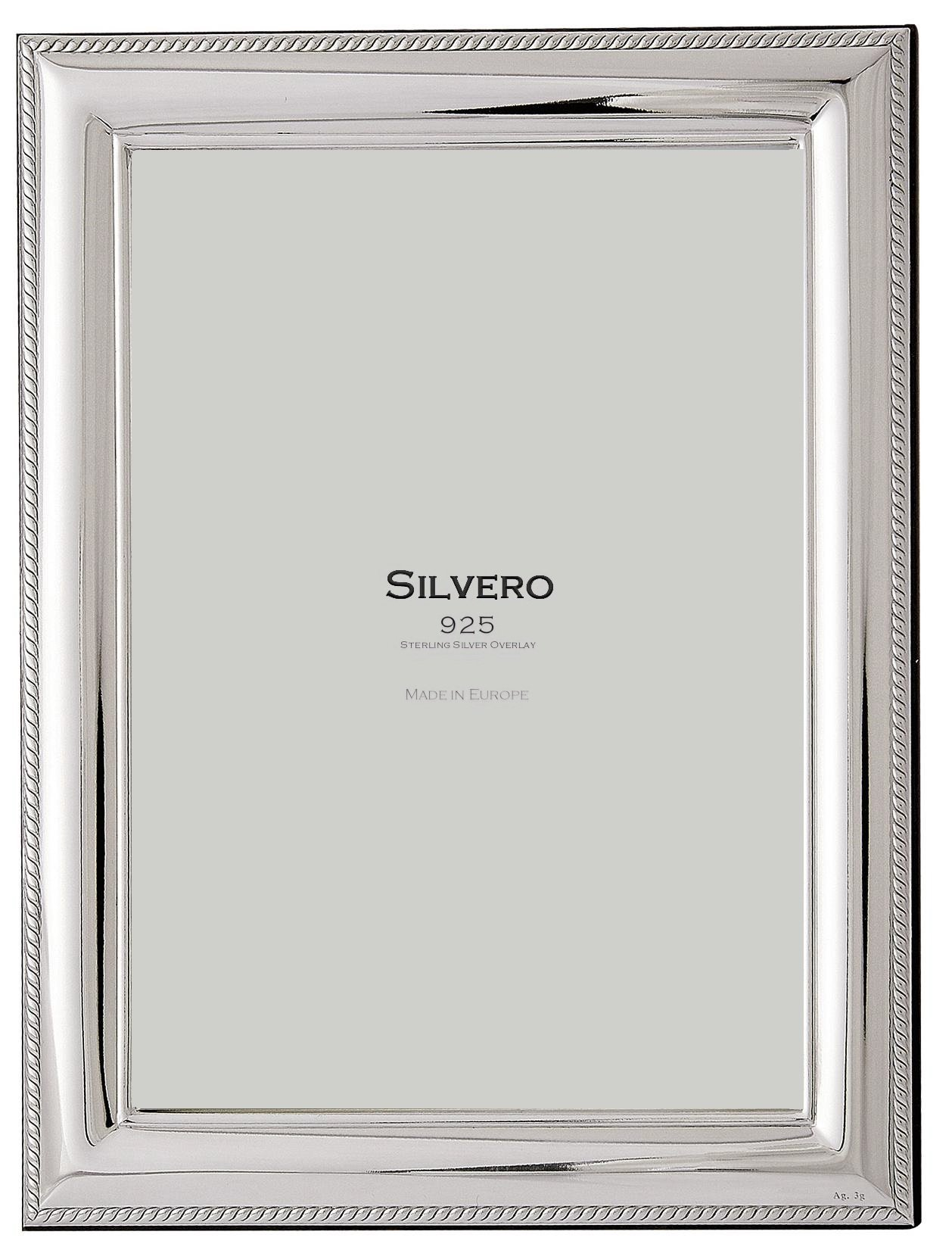 SILVERO 413W79 .925 Sterling Silver Overlay Cord 8x10 Frame