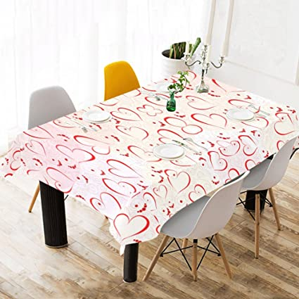 ff3c5cf8f266 INTERESTPRINT Tablecloth Red Heart Love Home Decor 60 X 120 Inch,  Valentine's Day Romantic Modern Fabric Desk Cover Table Cloth for Dining  Room ...