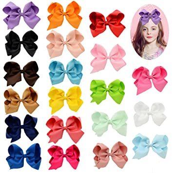 Amazon Com Yariew 20 Pcs Bows For Girls Big Bow Clips For Kids With