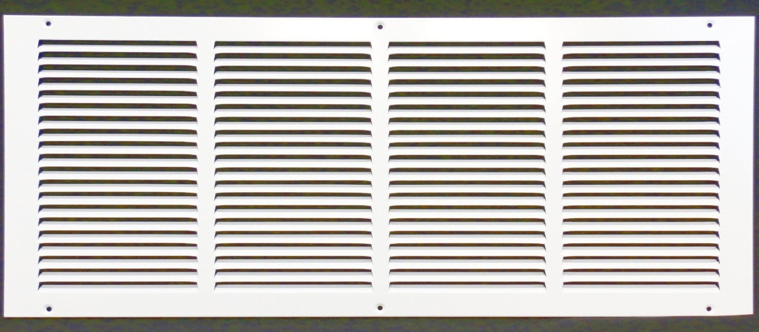 24''w X 8''h Steel Return Air Grilles - Sidewall and Cieling - HVAC DUCT COVER - White [Outer Dimensions: 25.75''w X 9.75''h]