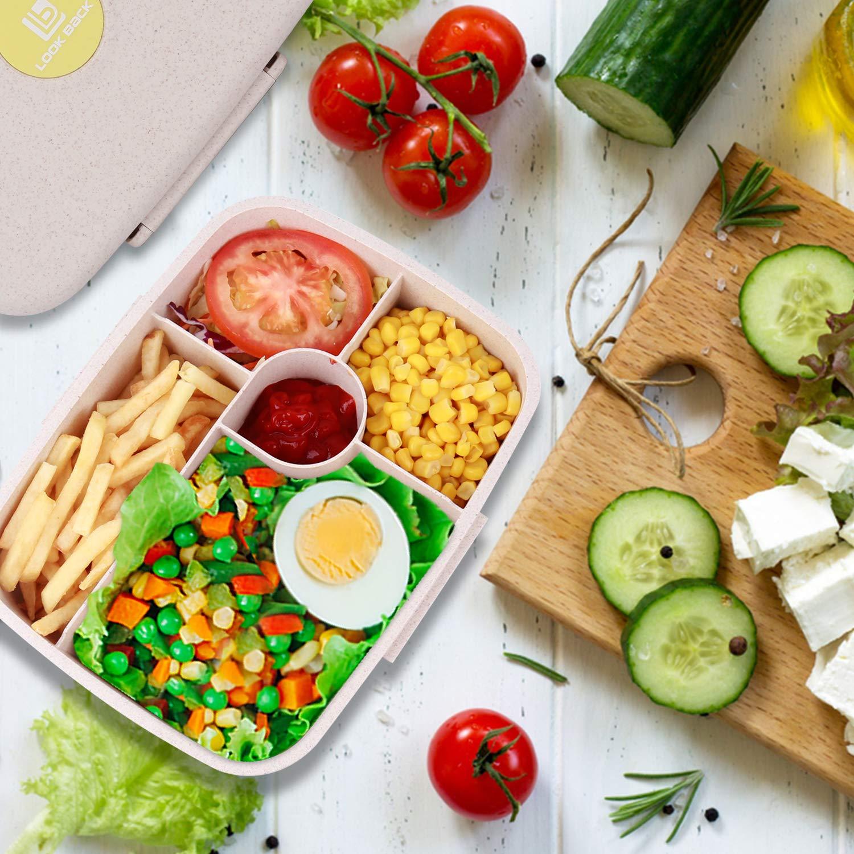 BRIGENIUS Bento Box per Adulti Contenitori da Pranzo per Bambini Contenitore da 5 Scomparti Contenitori per Alimenti A Prova di perdite Microonde Lavabile in lavastoviglie Sano BPA Gratuito