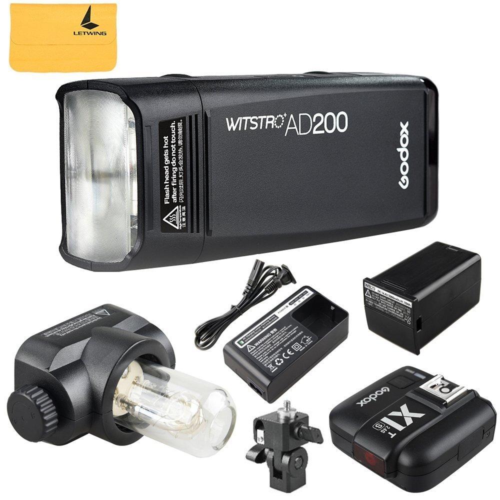 GODOX AD200 TTL 2.4G HSS 1/8000s Pocket Flash Light Double Head 200Ws with 2900mAh Lithium Battery Flashlight Flash Lightning+GODOX X1T-S 2.4G Wireless Flash Trigger Transmitter for Sony DSLR Cameras