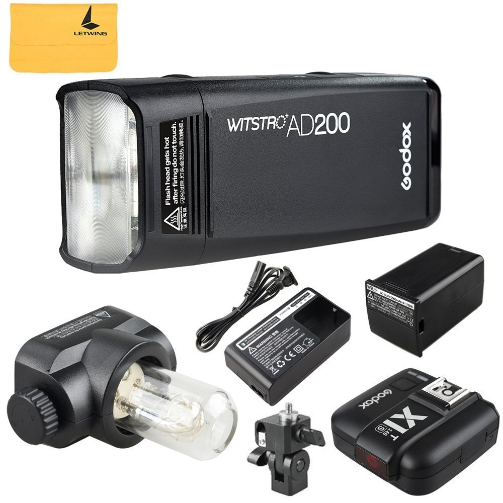 GODOX AD200 TTL 2.4G HSS 1/8000s Pocket Flash Light Double Head 200Ws with 2900mAh Lithium Battery+GODOX X1T-S 2.4G Wireless Flash Trigger Compatible for Sony DSLR Cameras by Godox