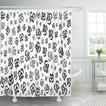 Shower Curtain 72x72 Inch Home Postcard Decor Print Fabric Bathroom Alternative Sanskrit Asia Asian Aum Black