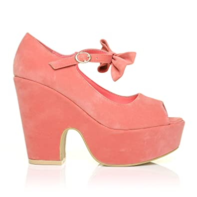 59102555d56e ShuWish UK Bowie Coral Pink Faux Suede Cut Out Peep Toe Platform Wedges  with Ankle Strap Bow  Amazon.co.uk  Shoes   Bags