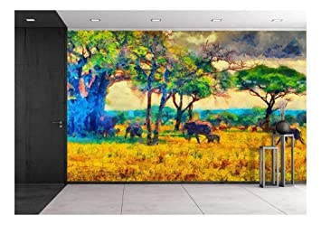 Amazoncom Wall26 Colorful Impressionist African Landscape With