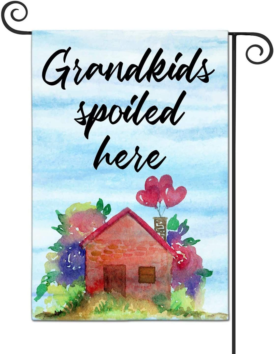 LHMUYU Grandkids Spoiled Here Home Decoration Garden Yard Flags Sign for Indoor and Outdoor Polyester Flag Double Sided 12 x 18 Inch