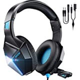 Mpow EG10 PC Gaming Headset for PS4,PS5,PC,Xbox One,Switch -7.1 Surround Sound Headset with Microphone,Noise Cancelling,LED L