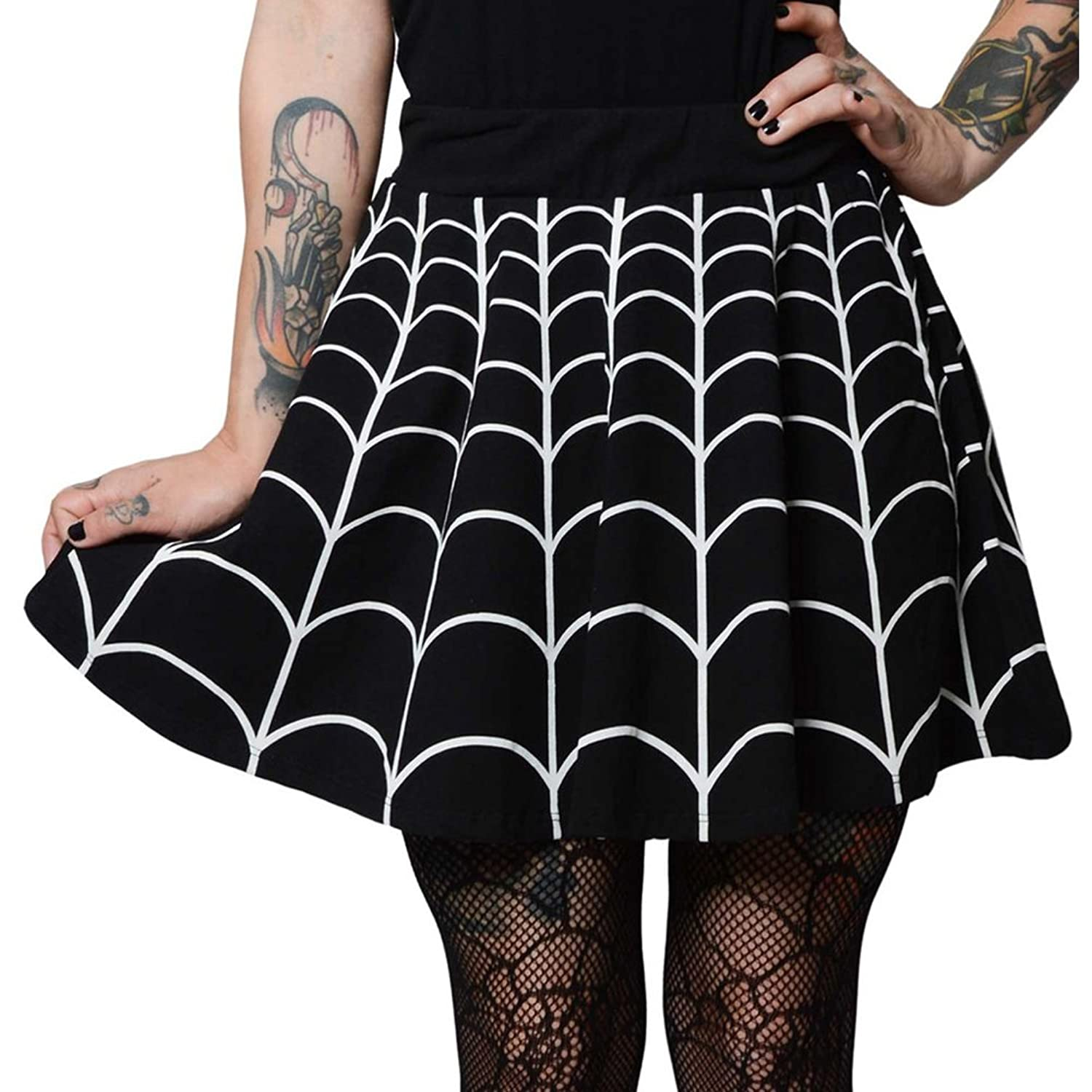 Women's Kreepsville 666 Web White Skater Skirt