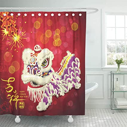 Emvency Shower Curtain Red Greeting Chinese New Year Lion Dance Sparkling Firecrackers Curtains Sets With