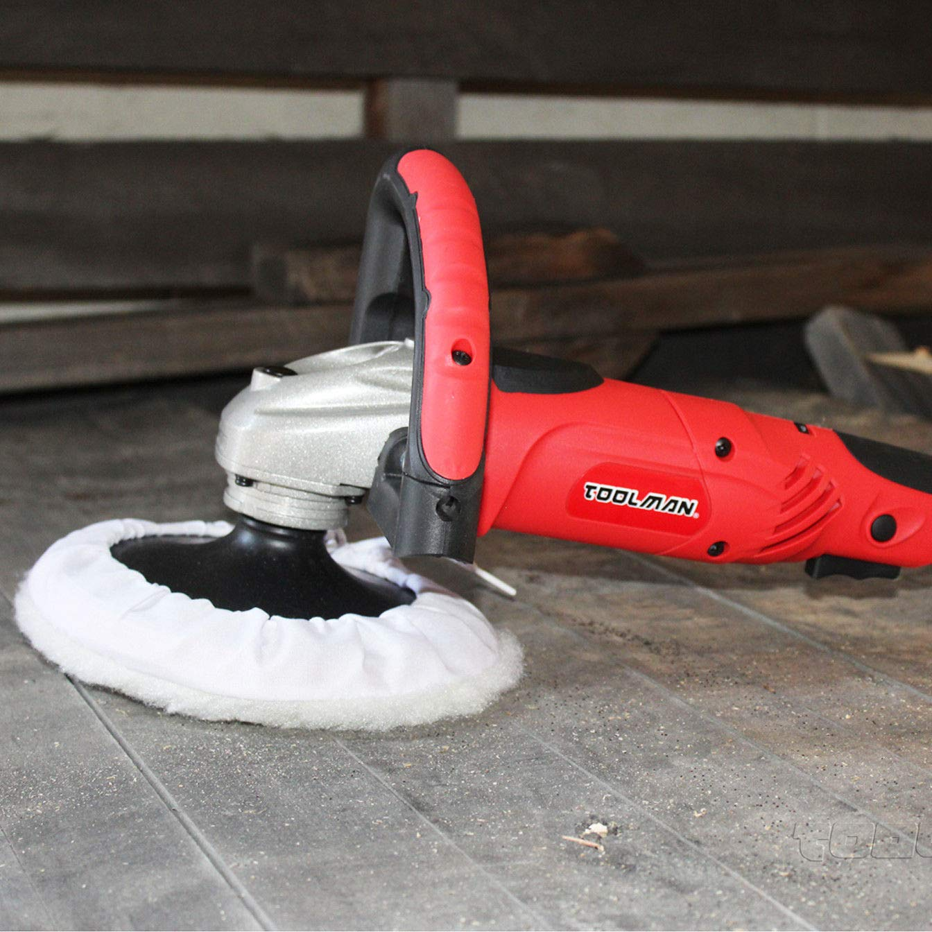 Toolman Compact Polishing Buffer Waxer Sander Machine 7'' W/ Wool pad & sandpaper works with DeWalt Makita Ryobi by TOOLSMAN (Image #3)