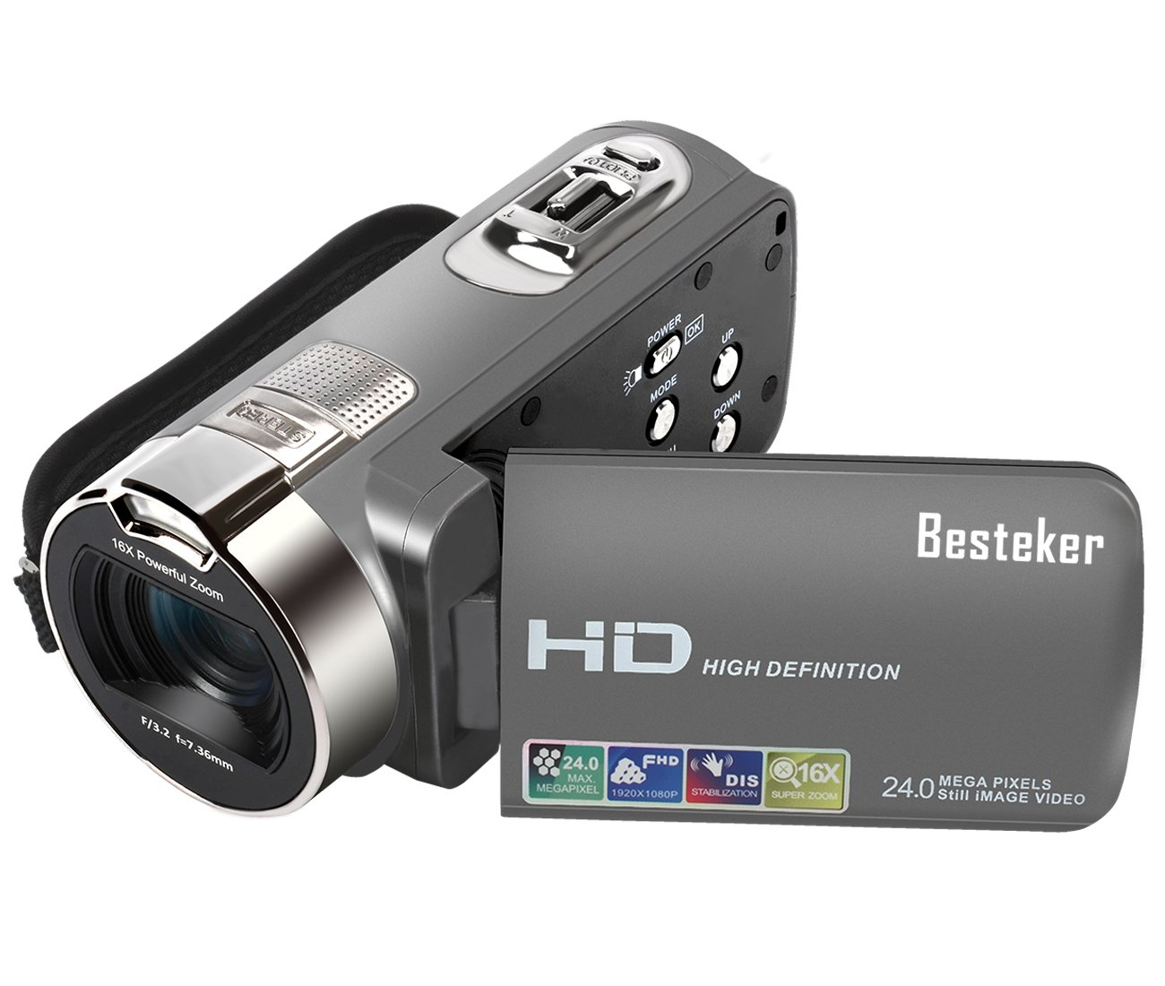 Camera Camcorders, HD 720P 16MP 16X Digital Zoom Video Camcorder with 2.7'' LCD and 270 Degree Rotation Screen