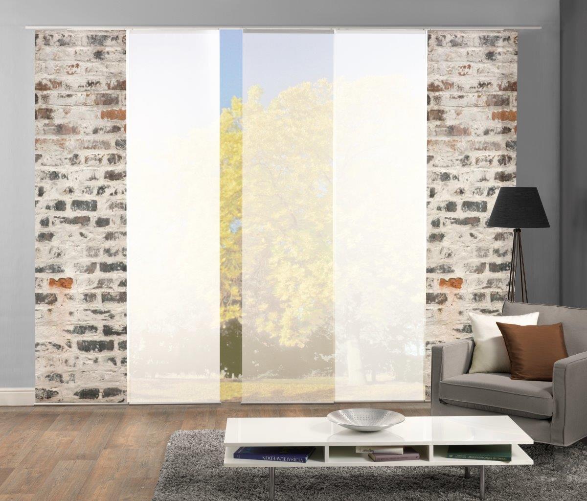 Home Fashion Set-Angebot Flächenvorhang Muro   wahlweise 3er-, 4er- oder 5er-Set bestehend aus Motiv- und Uni-Flächenvorhängen   Höhe 245 cm, Farbe  grau, Anzahl  (5)