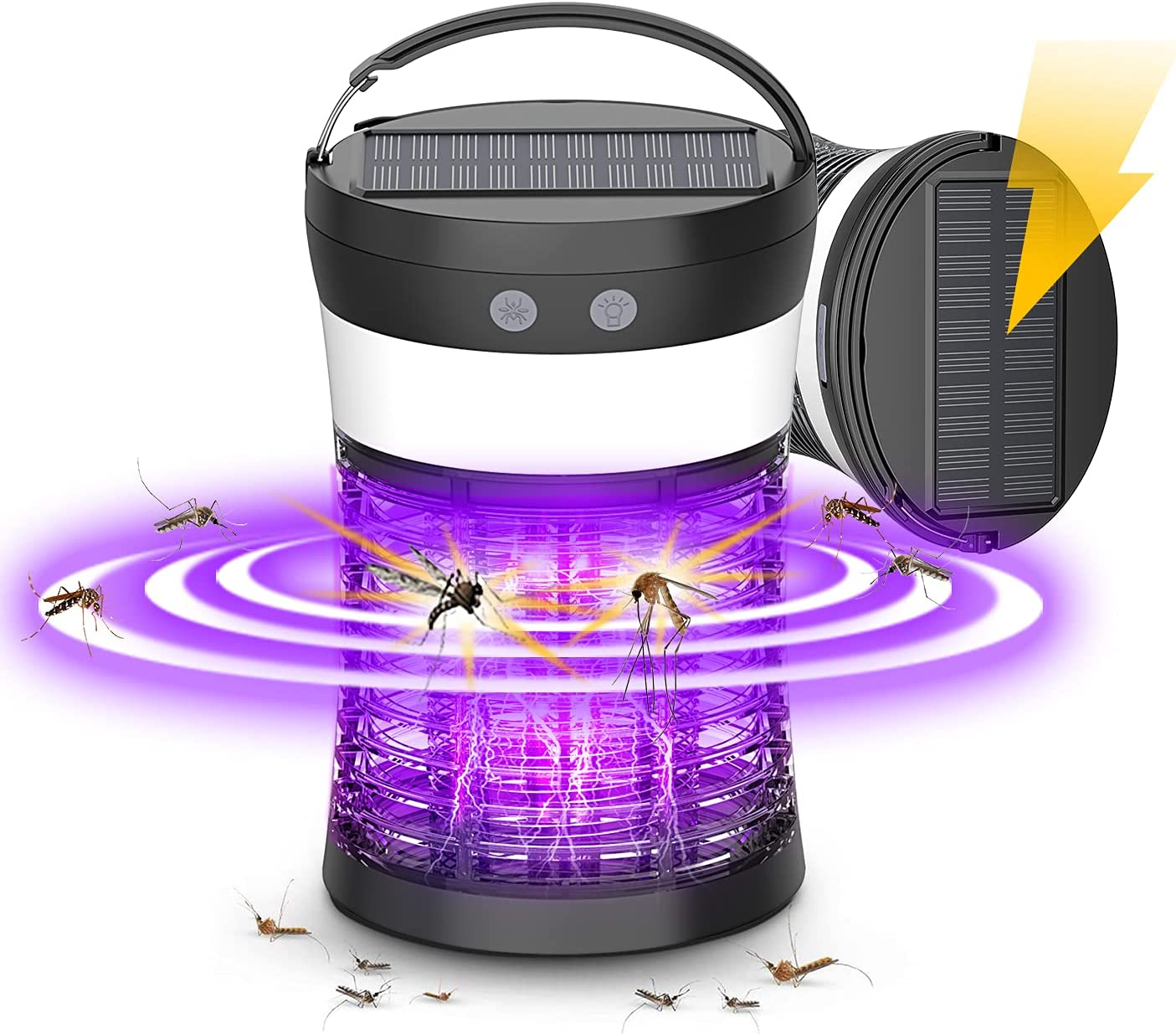 Solar Powered Bug Zapper 3-in-1 Rechargeable Mosquito Killer Camping Lantern with SOS Emergency Light, Waterproof Electric Mosquito Zappers Insect Fly Pest Attractant Trap for Indoor Outdoor