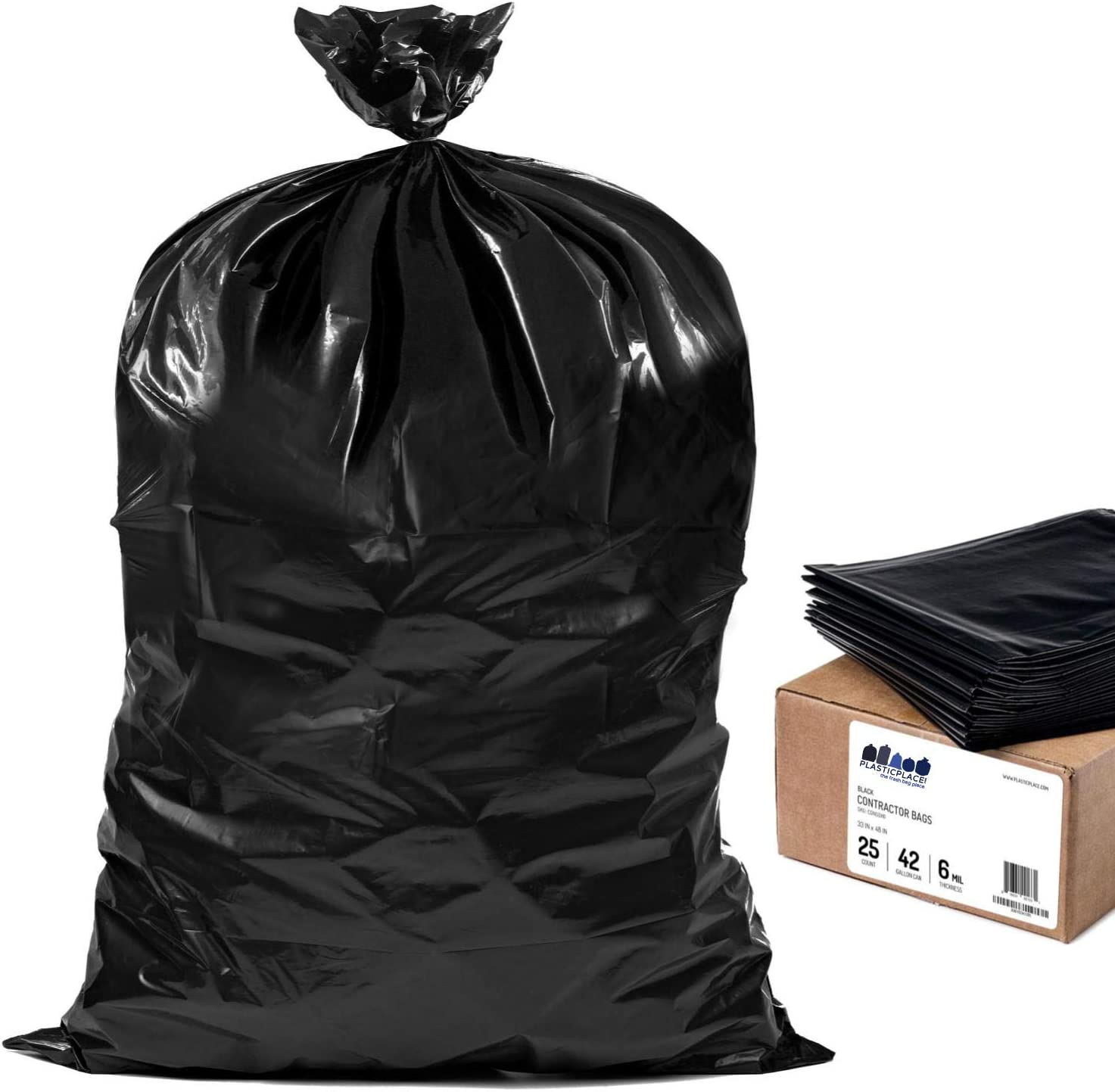 "Plasticplace Contractor Trash Bags 42 Gallon │ 6.0 Mil │ Black Heavy Duty Garbage Bag │ 33"" x 48"" (25 Count)"