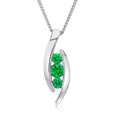 Miore Ladies 9kt White Gold Emerald Necklace of Length 45cm mUhufkj