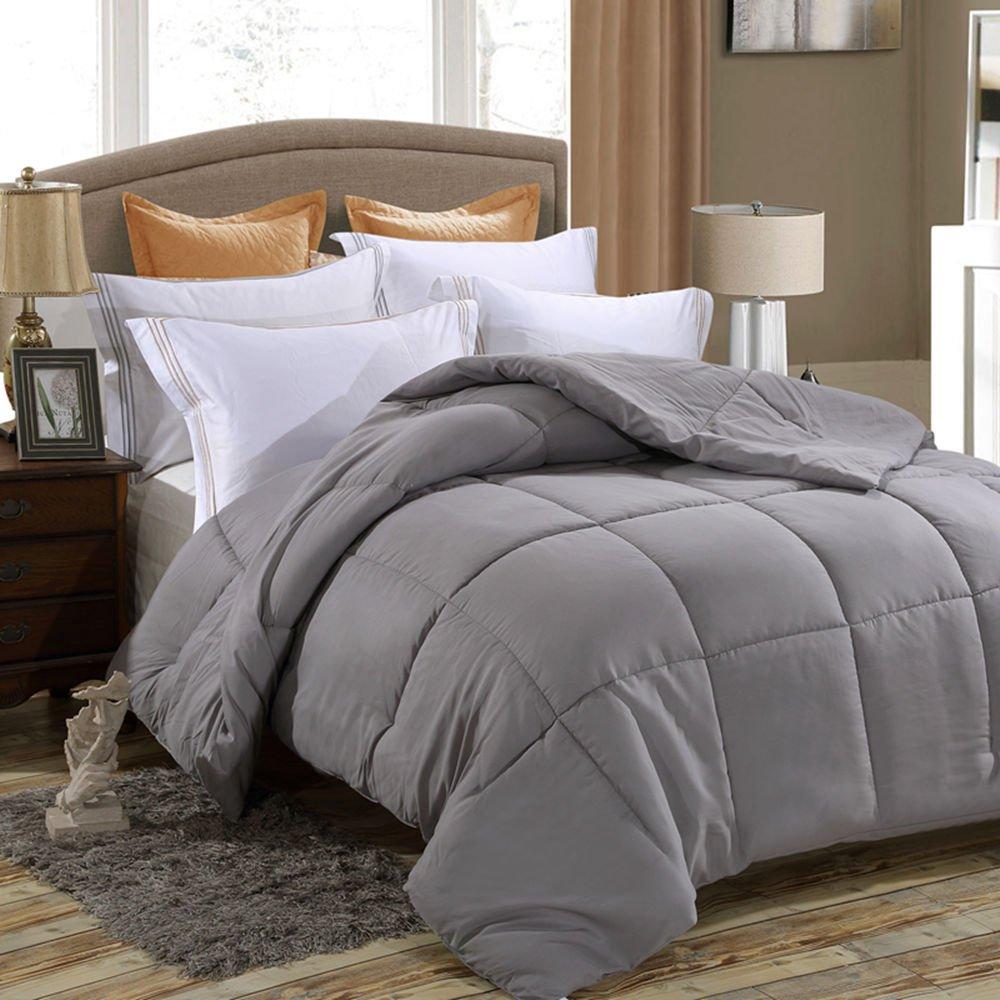 Juwenin bedding Down Alternative Comforter, Duvet Insert, Medium Weight for All Season, Fluffy, Warm, Soft & Hypoallergenic (Full/Queen, platinum)