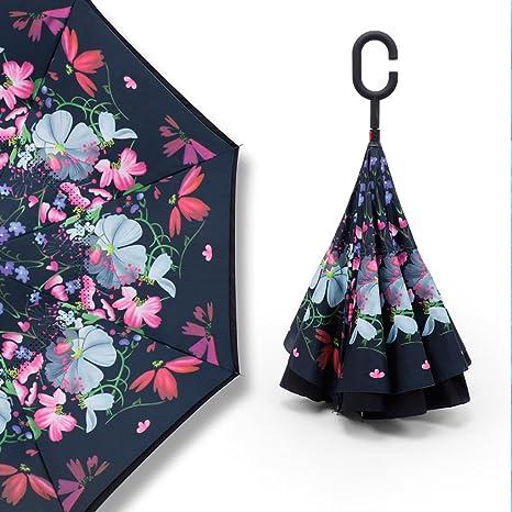 Y&S Paraguas invertido, doble capa de manos libres, manija larga Automóvil, paraguas transparente