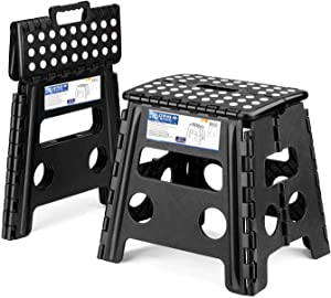Acko 2PACK Folding Step Stool - 13 inch Height Premium Heavy Duty Foldable Stool Adults, Kitchen Garden Bathroom Stepping Stool (Black, 2PACK)