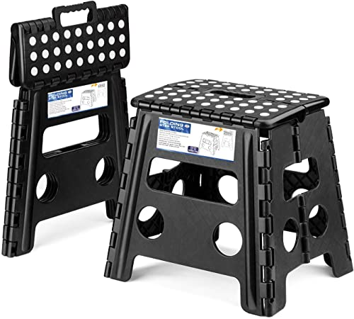 Acko 2PACK Folding Step Stool – 13 inch Height Premium Heavy Duty Foldable Stool Adults, Kitchen Garden Bathroom Stepping Stool Black, 2PACK