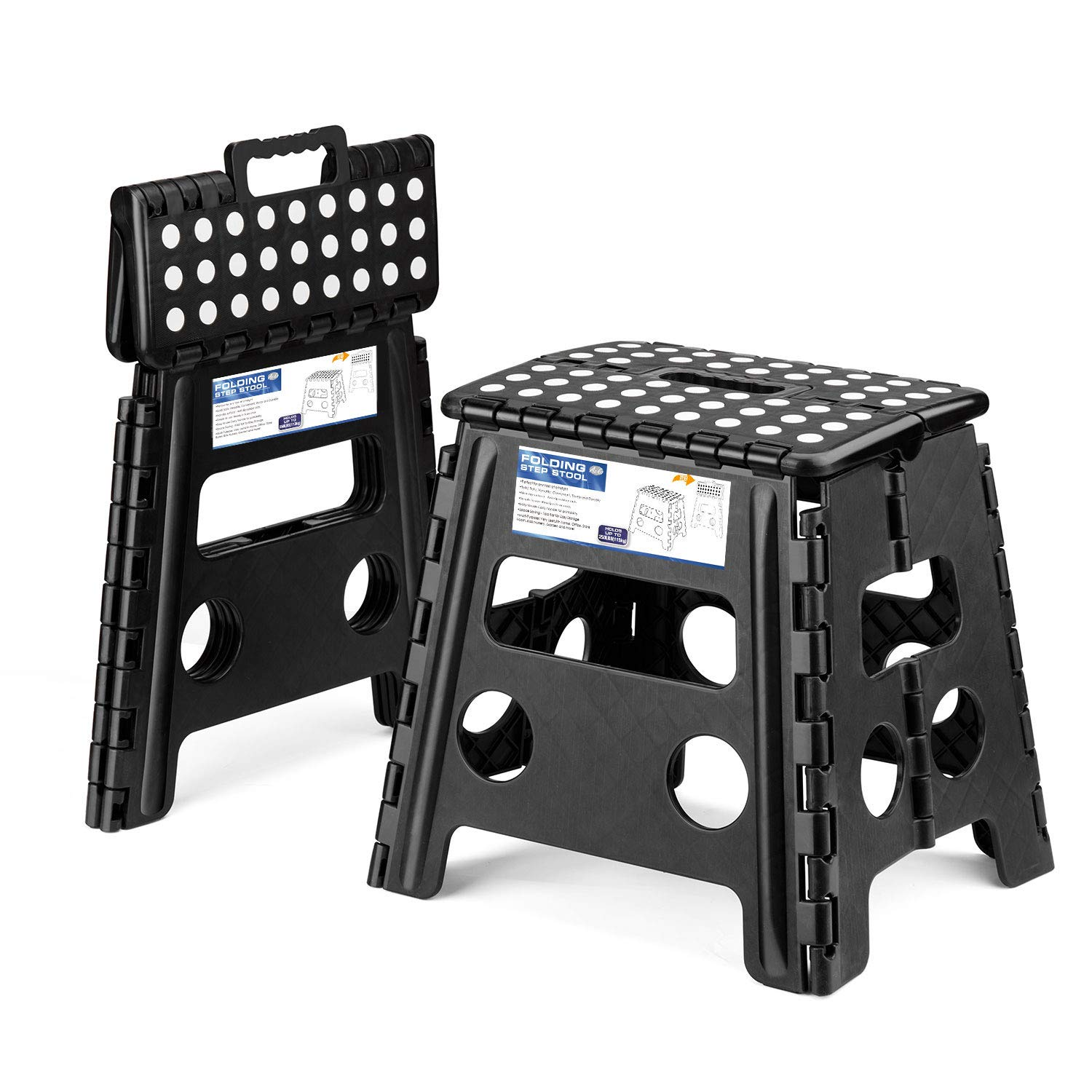 Acko 2PACK Folding Step Stool - 13 inch Height Premium Heavy Duty Foldable Stool Adults, Kitchen Garden Bathroom Stepping Stool (Black, 2PACK) by Acko