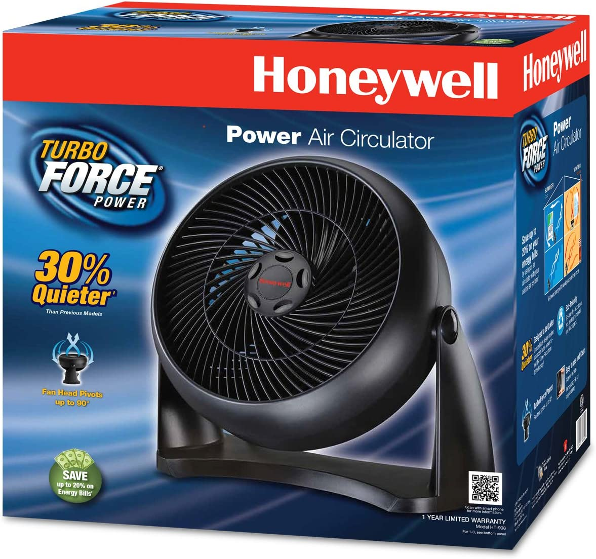 Honeywell HT-908 Turbo Force Room Air Circulator, 10 inch, Black