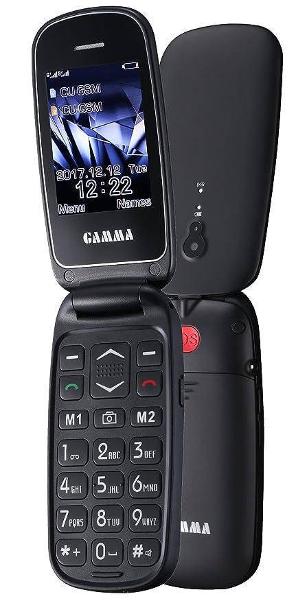 Teléfono móvil plegable GA-Star de Gamma con teclas grandes (tecla SOS, pantalla LCD de 2,4 pulgadas, teclas y letra grandes, menú fácil de usar, ...