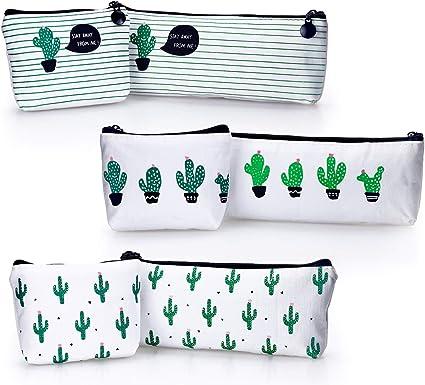 YOUSHARES 6 Paquetes Estuche Caja de Lápiz de Cactus, Cremallera Bolsa del Lápiz de la Lona para los Lápices y Bolígrafos o Pequeña Maquillaje: Amazon.es: Oficina y papelería