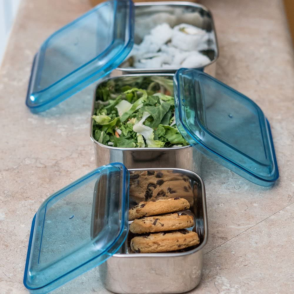 Qualways Stainless Steel Rectangular Shaped Storage Bowl Set of 3; 38 Oz, 25 Oz and 16 Oz Storage Bowls, Food containers, Snack Containers