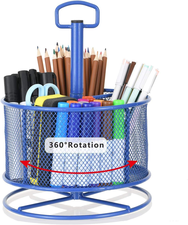 Marbrasse Mesh Desk Organizer,360-Degree Rotating Multi-Functional Pen Holder,4 Compartments Desktop Stationary Organizer, Home Office Art Supply Storage Box Caddy Rack
