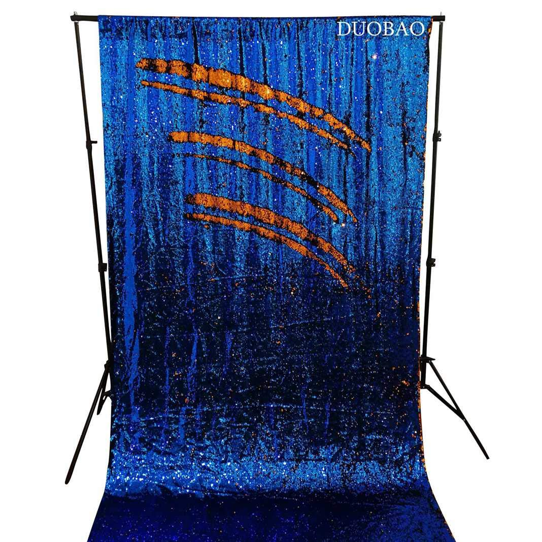 DUOBAO Sequin Backdrop 8Ft Royal Blue to Orange Rerversble Glitter Backdrop 4FTx8FT Mermaid Sequin Backdrop for Photo Booth Wedding Ceremony Backdrop