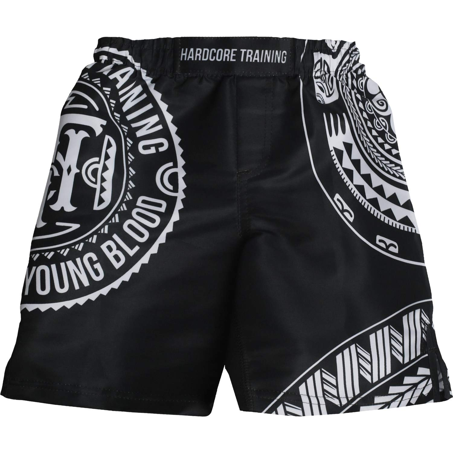 Hardcore Training Kids Boxing Shorts for Boy Ta Moko Black - Fighting Fitness BJJ Wrestling Active by Hardcore Training