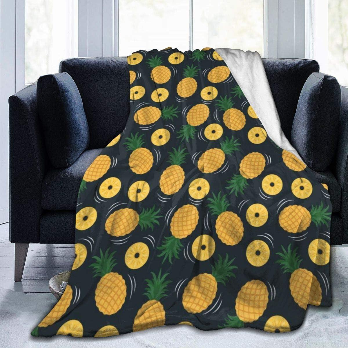 AUISS Plush Throw Velvet Blanket Yellow Pineapple Fluffy Fleece Carpet Camping Bedspreads for Women Cozy Sleep Mat Pad Flannel Cover for Winter