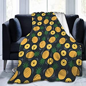 AUISS Plush Throw Velvet Blanket Yellow Pineapple Fluffy Fleece Carpet Camping Bedspreads for Women Cozy Sleep Mat Pad Flannel Cover for Winter