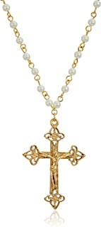 product image for 1928 jewelry 14k gold dipped simulated pearl chain religious crucifix cross pendant necklace