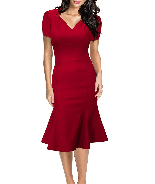 Damen sommerkleid v ausschnitt kurzarm 1950er retro fishtail b ro cocktail kleid ballkleid - Sommerkleid v ausschnitt ...