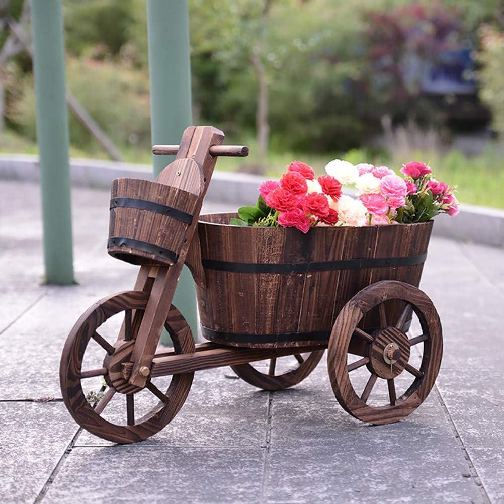 ZEIYUQI Patio Gardening Wooden Planter Box DIY Wagon Decorative in Garden and Outdoor
