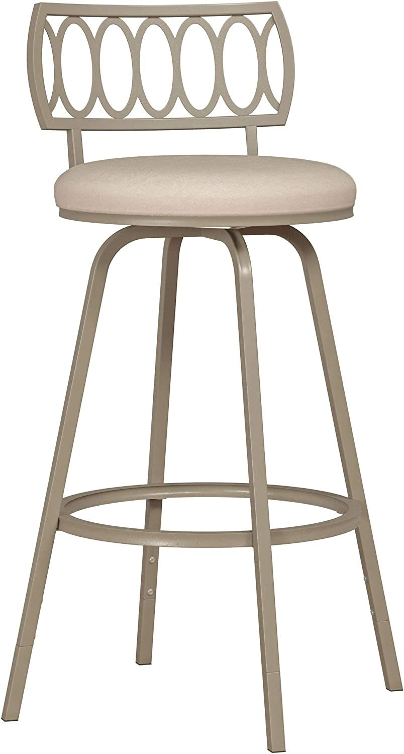 Hillsdale Canal Street Geometric Circle Back Metal Adjustable Stool with Nested Legs, Champagne Gold
